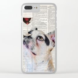 French Bulldog Dog, Wine Print, Gift for wine lover, Wine humor, Wine wall decor, Dining room decor Clear iPhone Case
