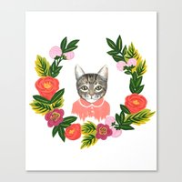 leah flores Canvas Prints featuring Scout con Flores by Leah Romero