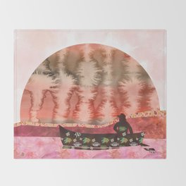 The Fisherman's Dream - Surrealist Vision Throw Blanket