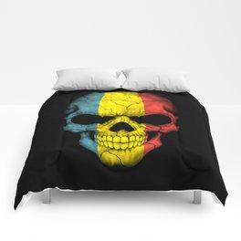 Dark Skull with Flag of Romania Comforters