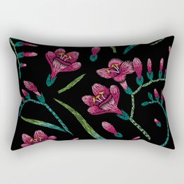 Embroidered Flowers on Black Pattern 07 Rectangular Pillow