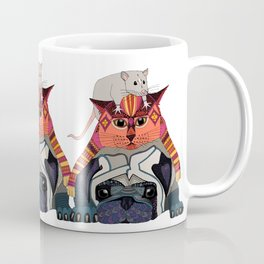 mouse cat pug white Coffee Mug