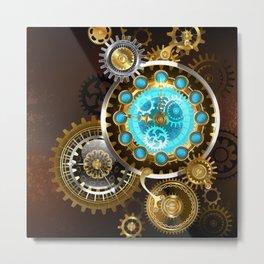 Unusual Clock with Gears ( Steampunk ) Metal Print