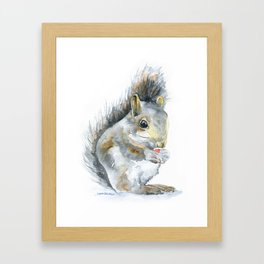 Gray Squirrel Watercolor Painting Framed Art Print