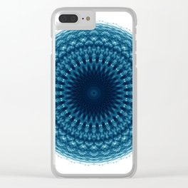 Mandala of Quantum Abundance (blue) Clear iPhone Case