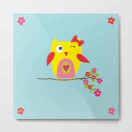 Cute Yellow Owl - Pink Flowers Illustration Metal Print