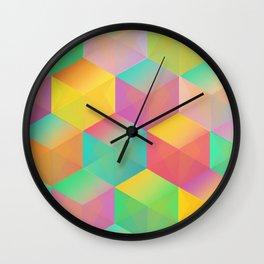 Rainbow Cubes (Vibrant Transparent Hexagon) Wall Clock