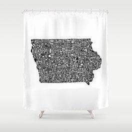 Typographic Iowa Shower Curtain