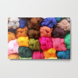 Colorful Yarn at the Market Metal Print