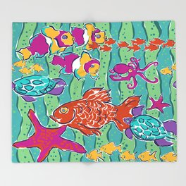All the Little Fishes Throw Blanket