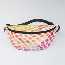 Summer Watercolor Tiles Mosaic Square Colourful Abstract Art Fanny Pack