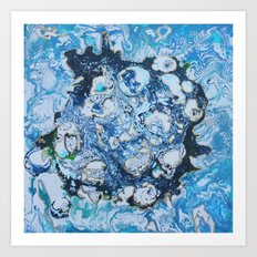 Marbled Blue Universe Art Print