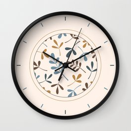 Assorted Leaf Silhouettes Blues Brown Gold Cream Wall Clock