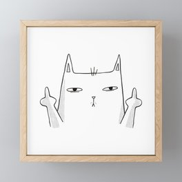 Funny cat sketch cat showing both middle fingers Framed Mini Art Print