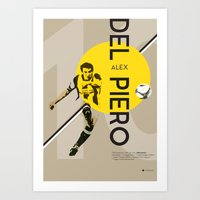 juventus Art Prints featuring Del Piero FC Juventus / Serie A Superstar Football Player by Filippo Maniscalco