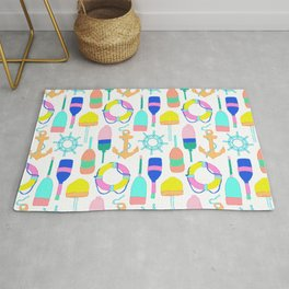 Nautical Notions in White + Candy Rainbow Rug