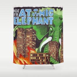 Night of the Atomic Elephant Shower Curtain