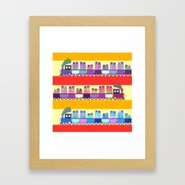 Colorful trains with Christmas gifts Framed Art Print