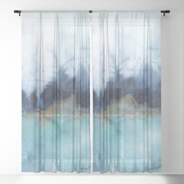 Mystic abstract watercolor Sheer Curtain