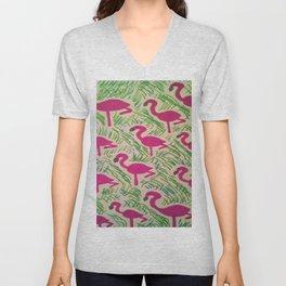 Tropical Flamingos Unisex V-Neck