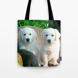 White Golden Retriever Dogs Sitting in Fiber Chair Tote Bag