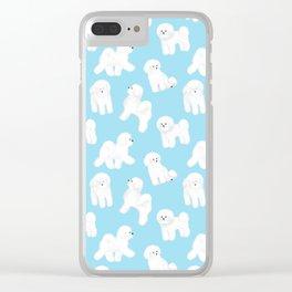 Bichon Frise Pattern (Blue Background) Clear iPhone Case