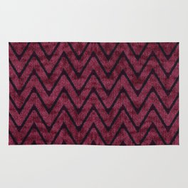 Rich Maroon  Zigzag Chevron Pattern Rug