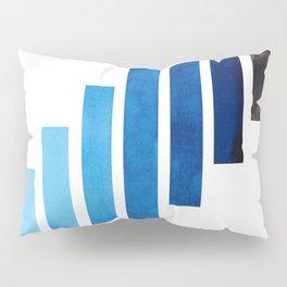 Prussian Blue Midcentury Modern Minimalist Staggered Stripes Rectangle Geometric Aztec Pattern Water Pillow Sham