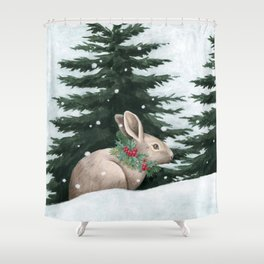 Winter Bunny Shower Curtain