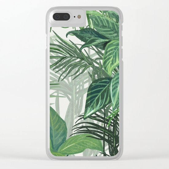 Green Tropical mood Clear iPhone Case