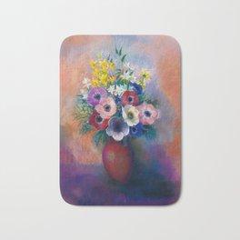 """Odilon Redon """"Anemones (Vase d'anémones)"""" Bath Mat"""