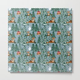 Corgis in the winter forest Metal Print