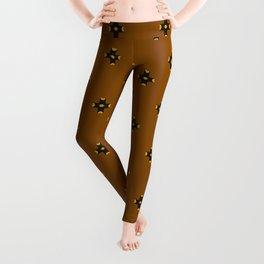 Phillip Gallant Media Design - Orange, Yellow, And Black Design On Brown Checkered With Brown Leggings