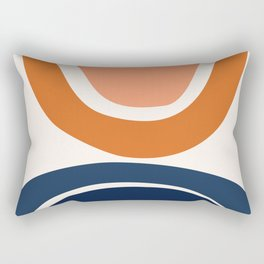 Abstract Shapes 7 in Burnt Orange and Navy Blue Rectangular Pillow