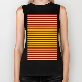 Cardinal and Gold Vertical Stripes Biker Tank
