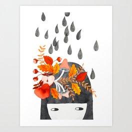 Autumn girl botanical watercolor illustration Art Print