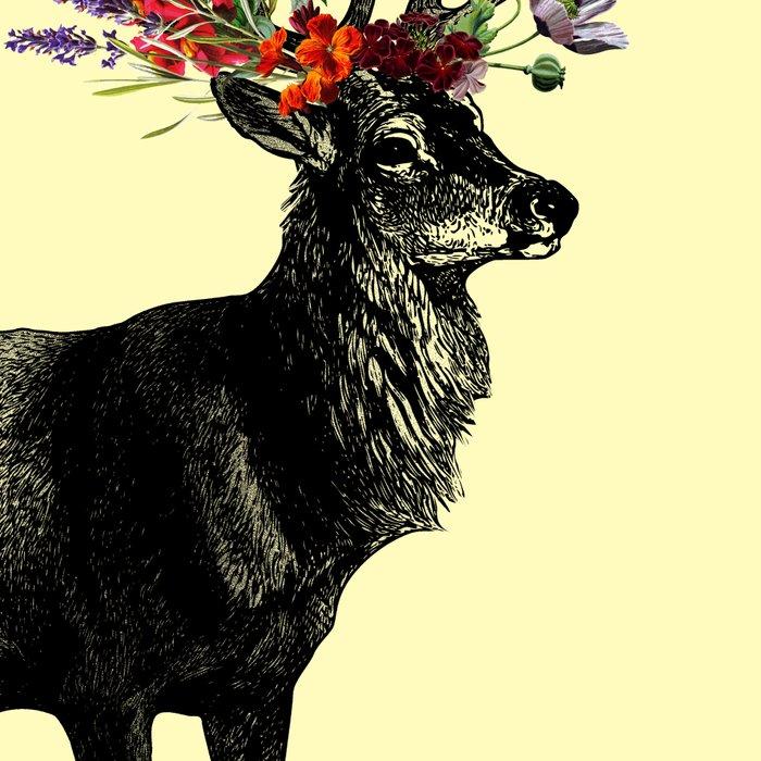 Spring Itself Deer Floral (Cream) Leggings