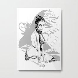 Star Princess Leia Organa as slave and Jabba Metal Print