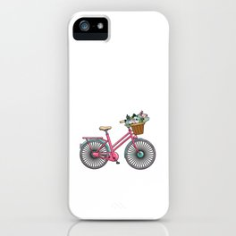 Womens bicycle with flowers iPhone Case
