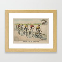 Vintage Cycling Race Illustration (1894) Framed Art Print