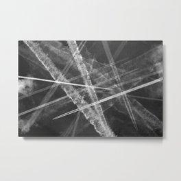 Jet vapour trails in a dark sky Metal Print