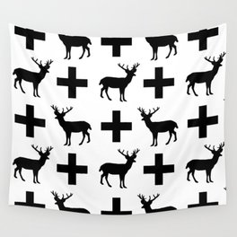 Deer Plus - Black and white deer pattern designs with plus sign perfect cell phone case gift ideas Wall Tapestry
