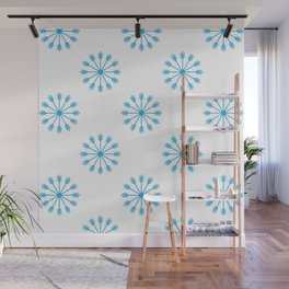 Snowflakes - white and blue Wall Mural