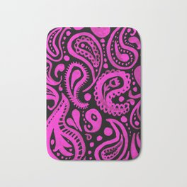 Handpainted Paisley Pattern Pink and Black Color Bath Mat