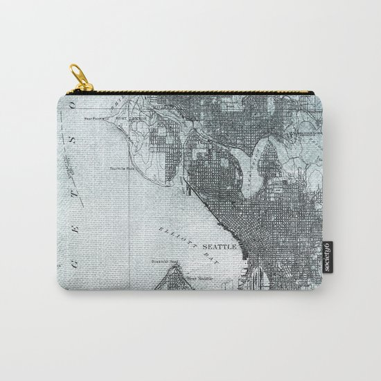 Vintage Seattle City Map Carry-All Pouch