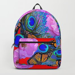 MONARCH BUTTERFLIES & ROSES  PEACOCK ART & RED ABSTRACT Backpack