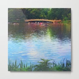Central Park Boats on Rainbow Waters Metal Print