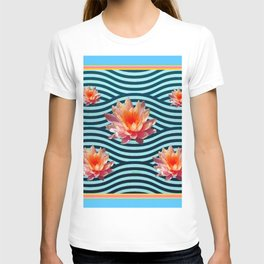 Peach Color Water Lily Water Garden T-shirt