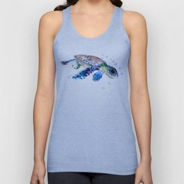 Sea Turtle Illustration Unisex Tank Top
