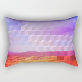 Ultra Surreal Countryside Violet Rainbow Rectangular Pillow